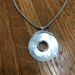 Jewelry - Silver tone necklace with mother of pearl charm